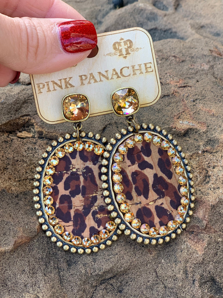 Live in Leopard Oval Earrings w/ Bronze Cushion Embellishent by Pink Panache