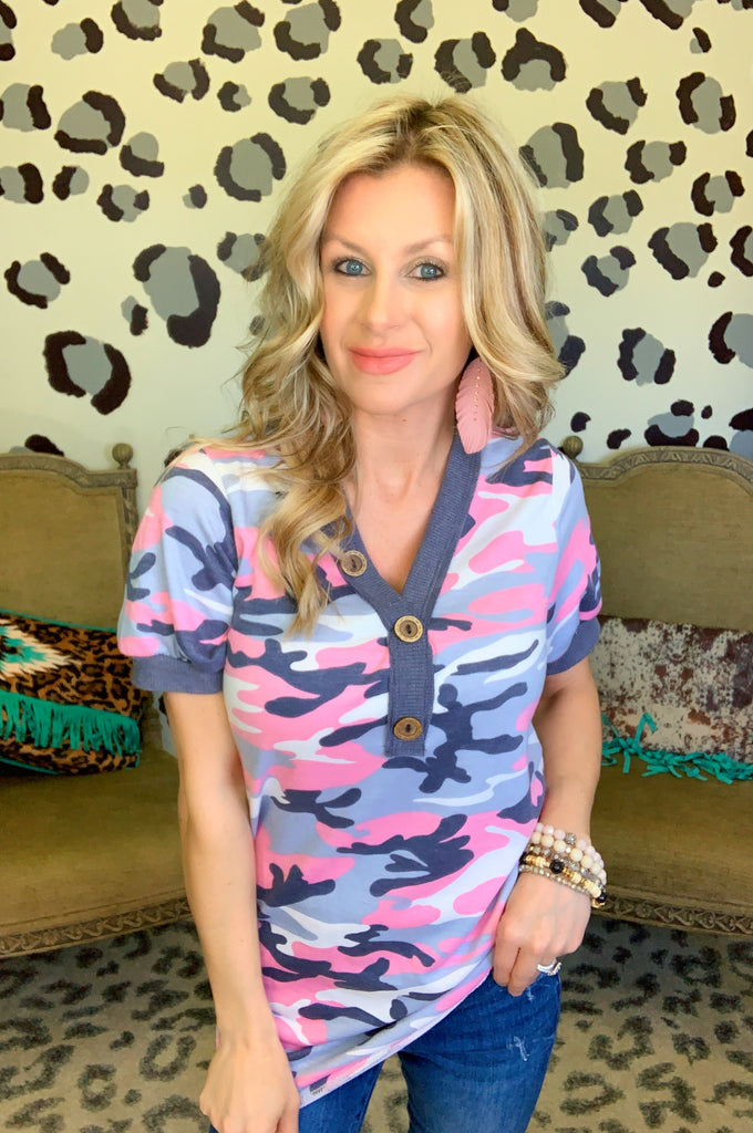 Pink and Purple Camo Blouse