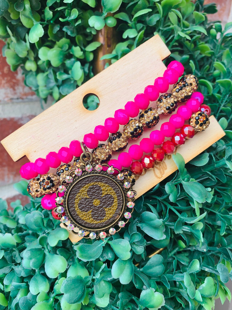 Pink Beaded Leopard Upcycled Bracelet Stack