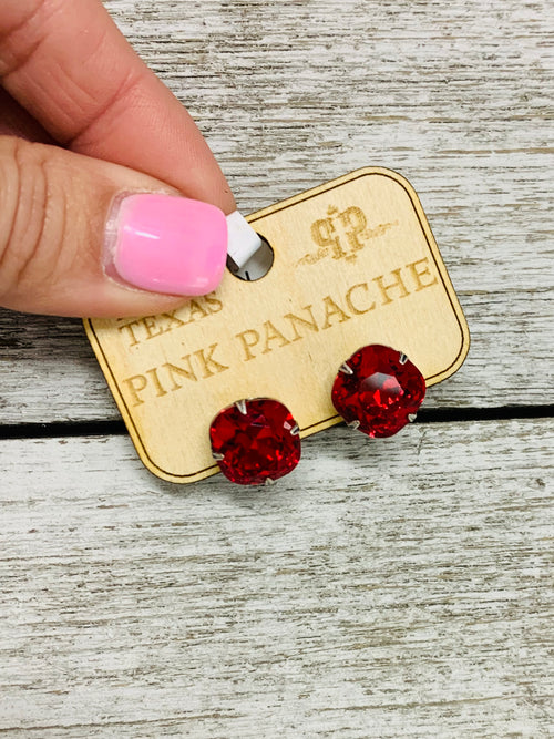 Cherry Red crystal studs by Pink Panache