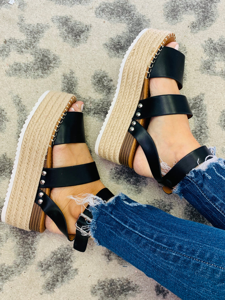 Charmed Wedge Sandals ~ Black