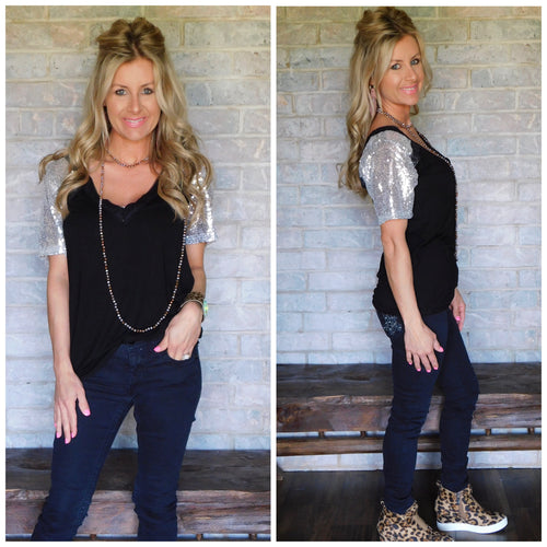 Black & silver sequin sleeve blouse