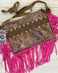 Brown python & hot pink leather fringe Maxine purse by Keep it Gypsy
