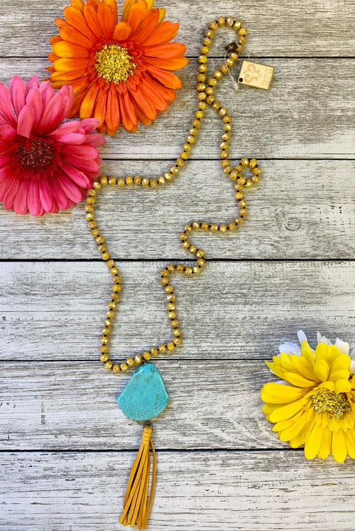 Mustard Beaded Turquoise Stone Pink Panache Necklace