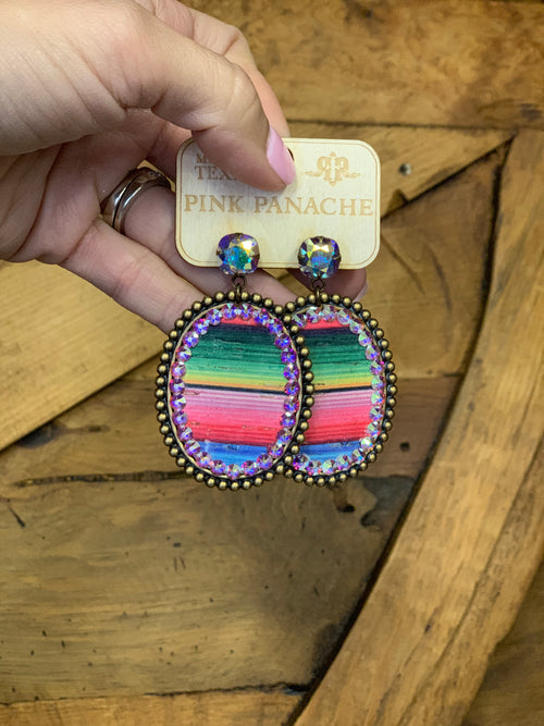 The westerner Serape bronze & AB crystal earrings by Pink Panache