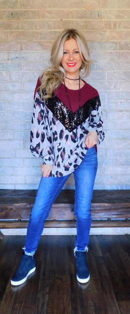 Burgundy & Ash Blue Leopard & Sequins Blouse