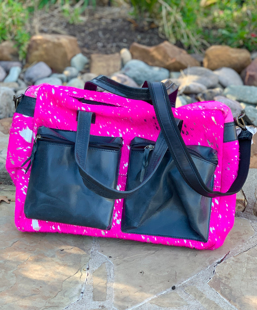 The Carrie Hot Pink Acid Wash Work Bag