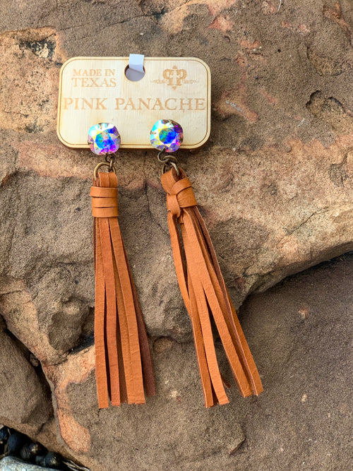Brown Leather Tassel & AB Stone Earrings ~Pink Panache