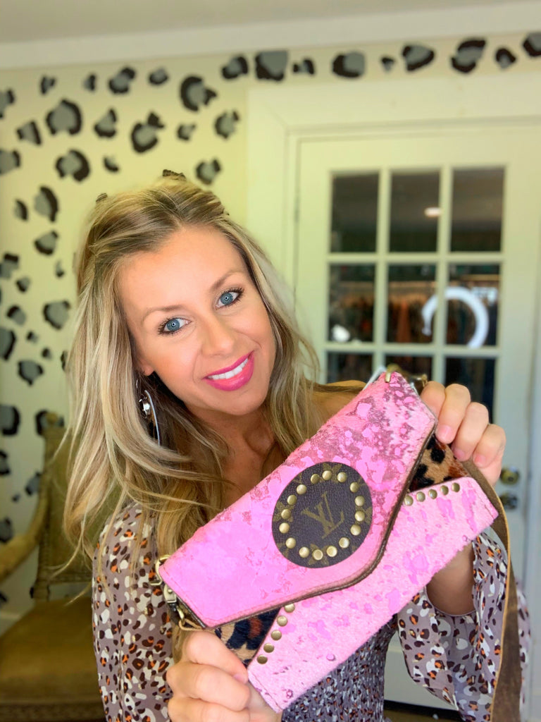 Pink acid wash & leopard Gretchen crossbody by Keep it gypsy
