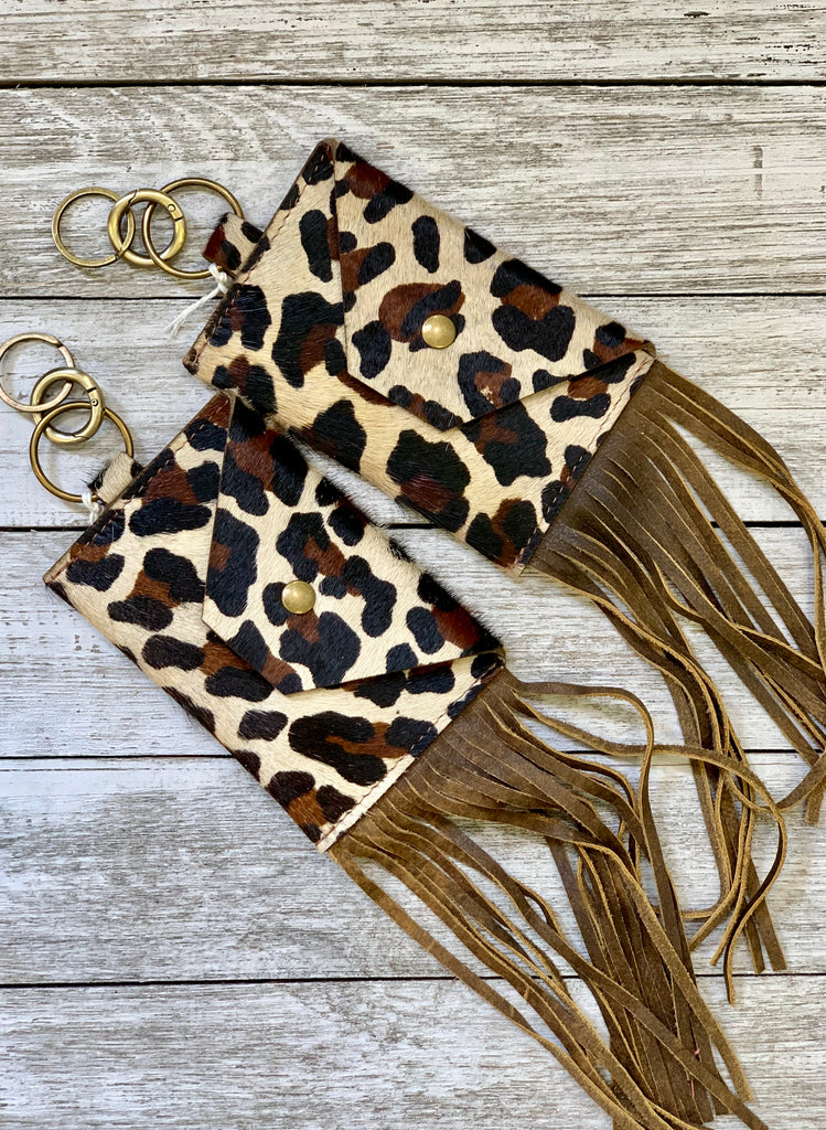 The Lynn Leopard print hair on hide fringe credit card keychains