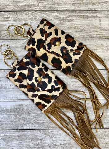 Leopard floral leather earrings by Keep it Gypsy