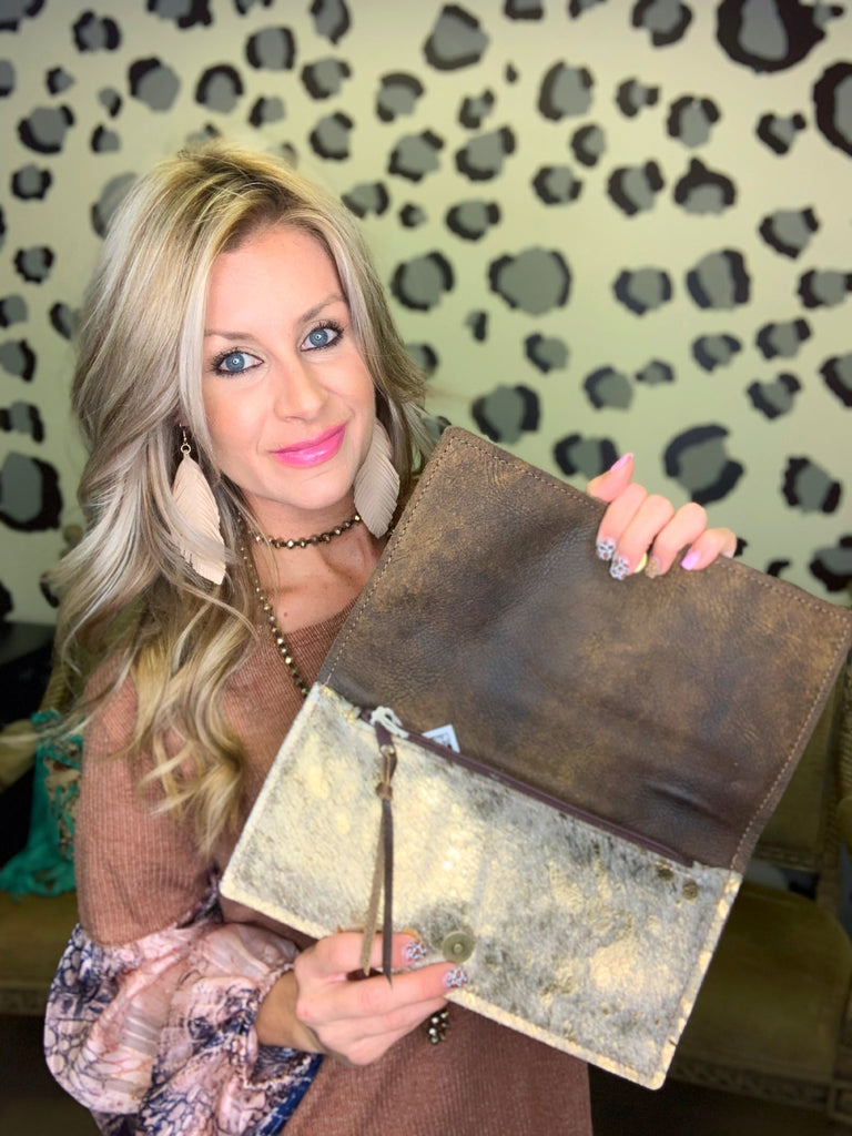 Southern Love brindle & gold acid wash clutch