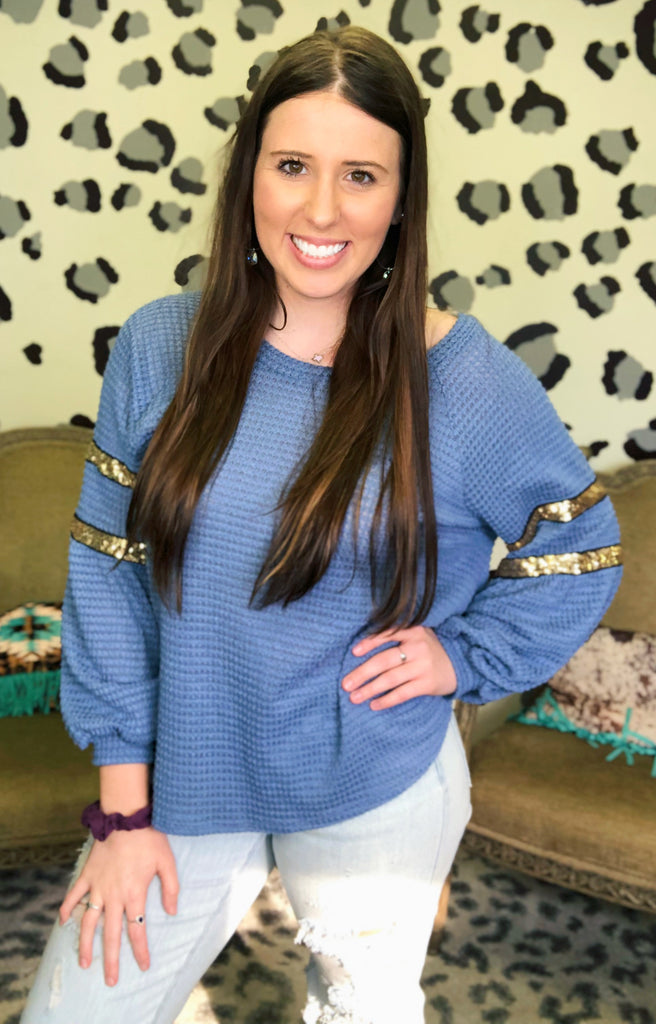 Blue & Gold sequin Springing into chic comfy waffle knit blouse