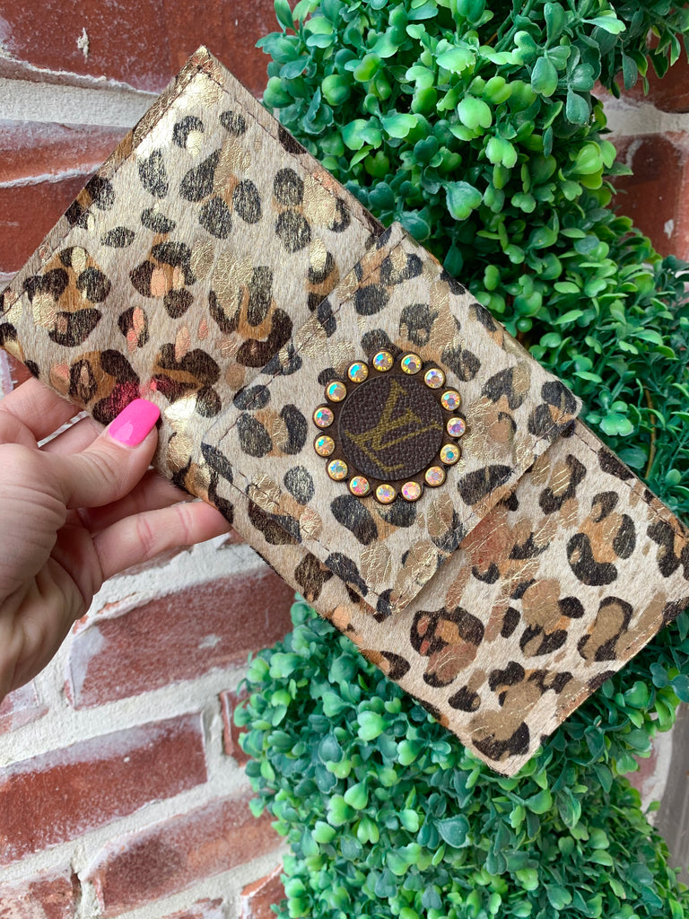 Golden Leopard AB Crystal Upcycled Clutch Wallet