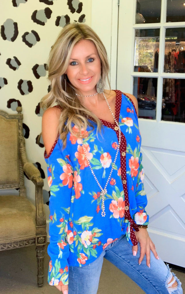 Blue floral & maroon polkadot cold shoulder blouse