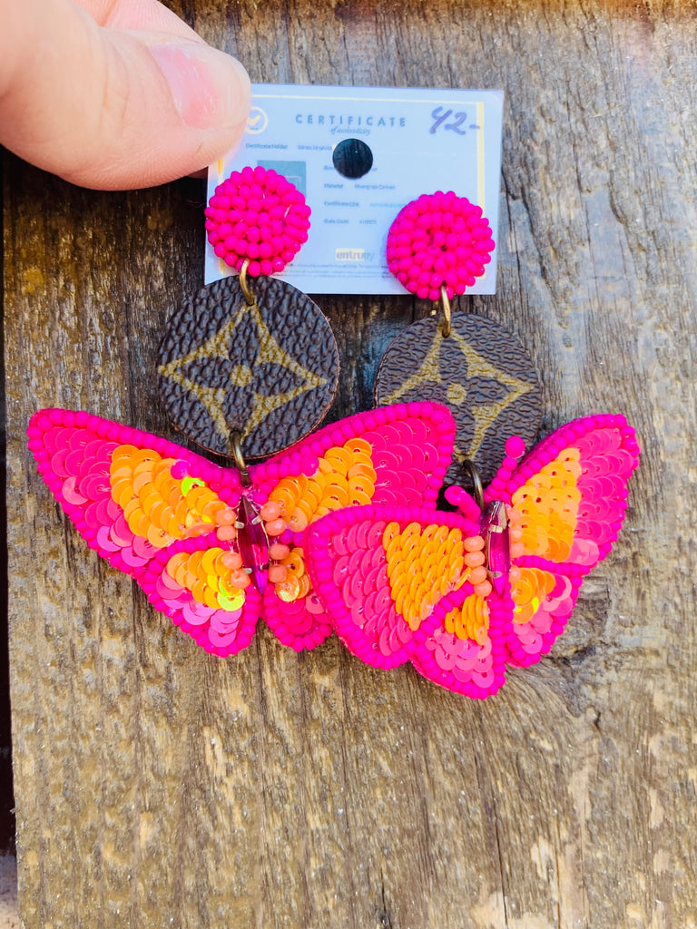 Pink Beaded Butterfly Upcycled  AB Tear Drop Earrings