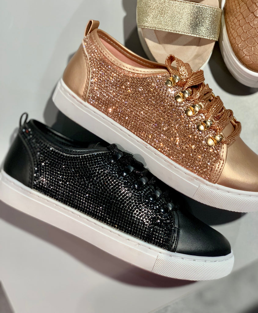 Black~ Get up and go rhinestone tennis shoes