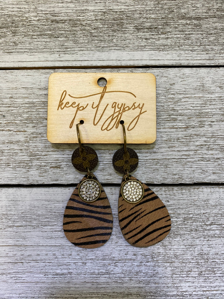 Tiger Teardrop Double Drop Upcycled Earrings