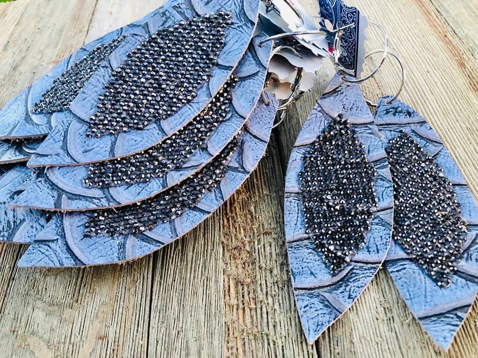Grey Mermaid Leather Feather Rhinestone Earrings