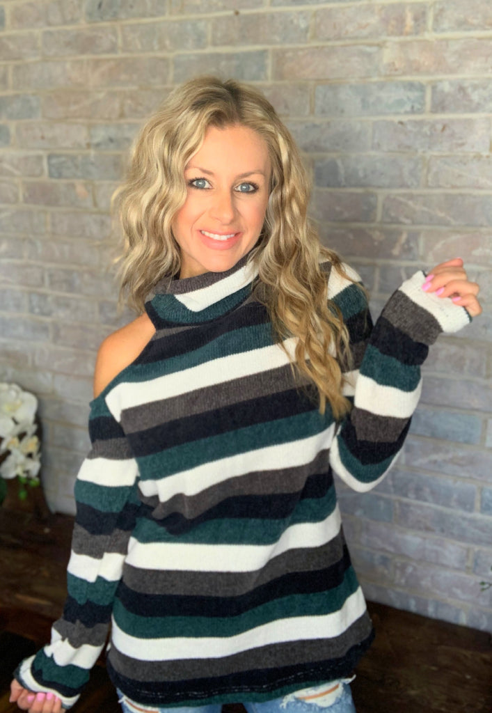 By the Fire Place Teal & black Striped cold shoulder blouse