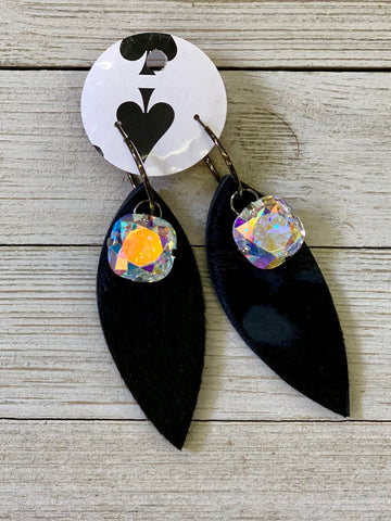 Black hair on hide AB crystal feather earrings