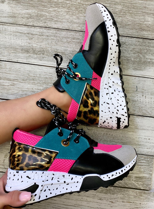 Crazed Wild heart Turquoise pink leopard tennis shoes