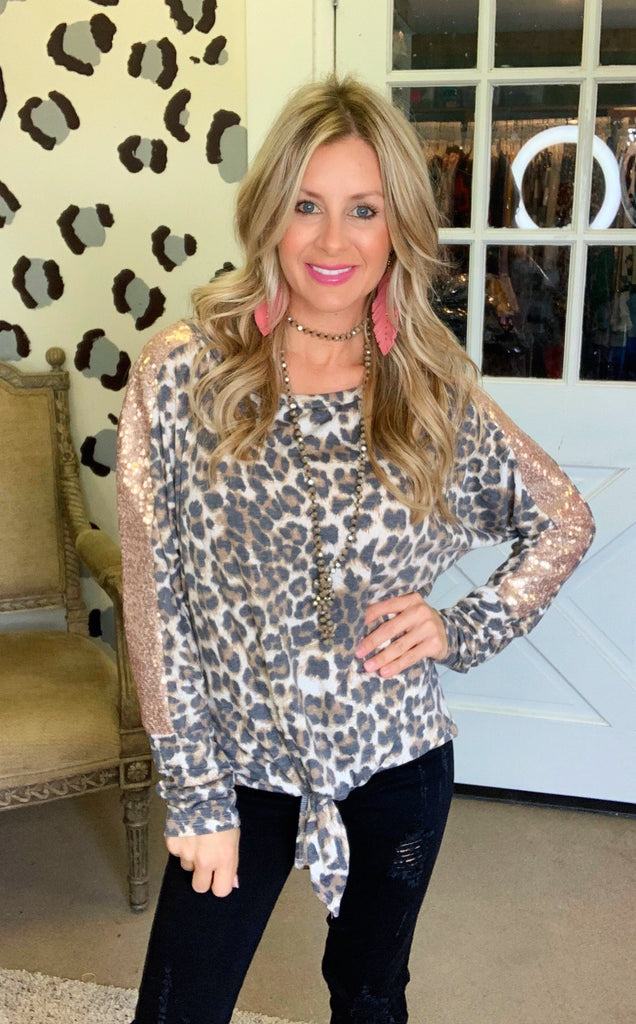 Wild vibes rose gold sequin Leopard blouse