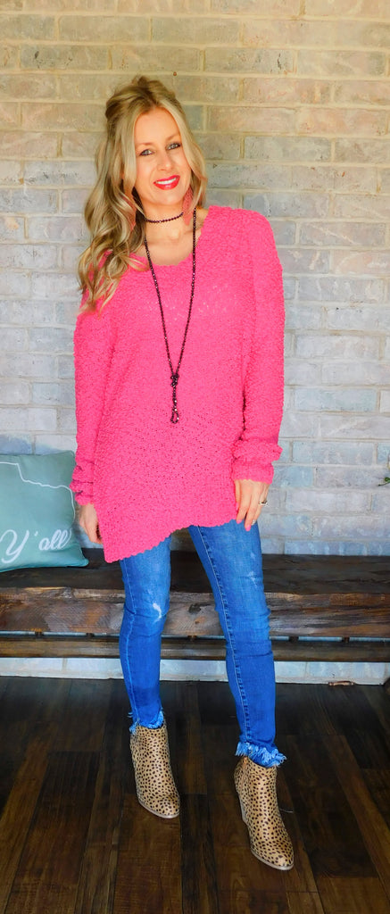 Poppin' In Hot Pink Long sleeve Top