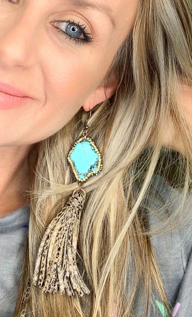 Rock The Look Turquoise Pave Snakeskin tassel earrings