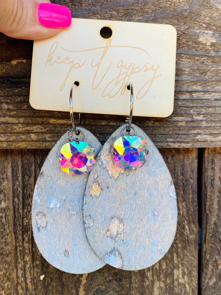 Hologram Hair on Hide AB crystal Tear Drop Earrings