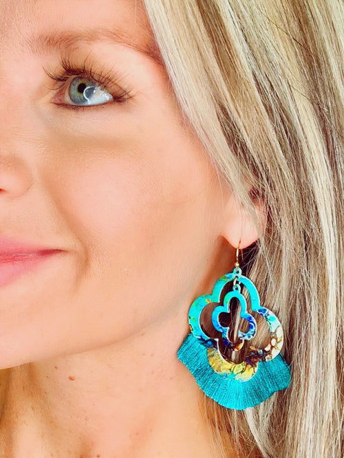 Turquoise ombré tassel earrings
