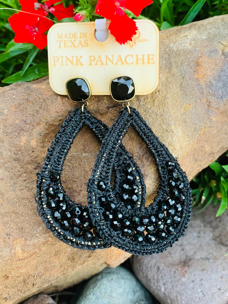 Black Beaded Laced & Crystal Tear drop Earrings by Pink Panache
