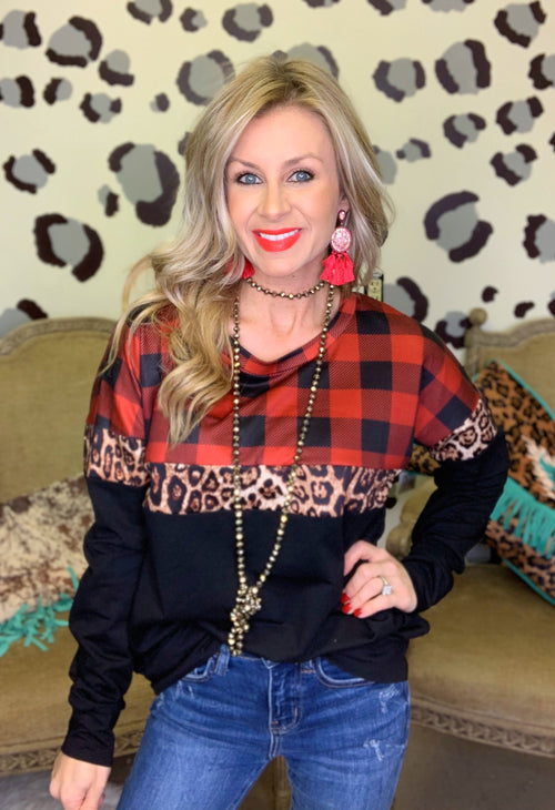 Buffalo plaid & leopard sweatshirt by Crazy Train