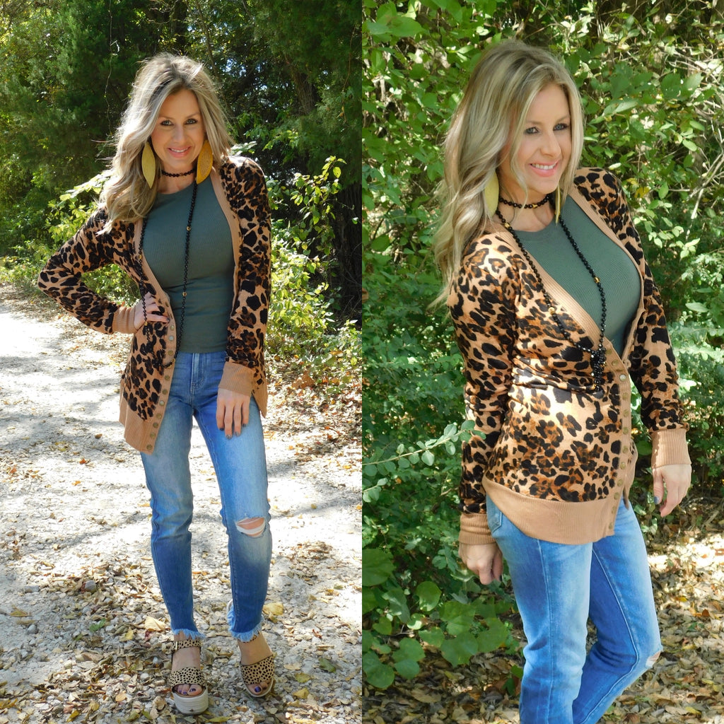 Brown Leopard Print Snap Cardigan