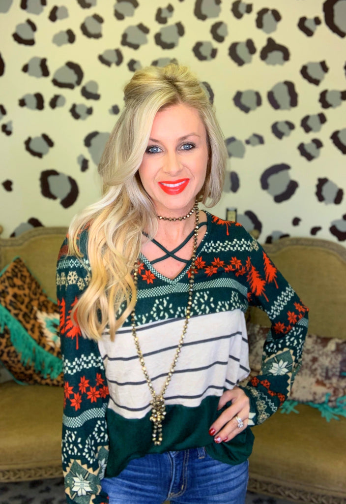 Hunter Green Wintery Mix Long sleeve Blouse
