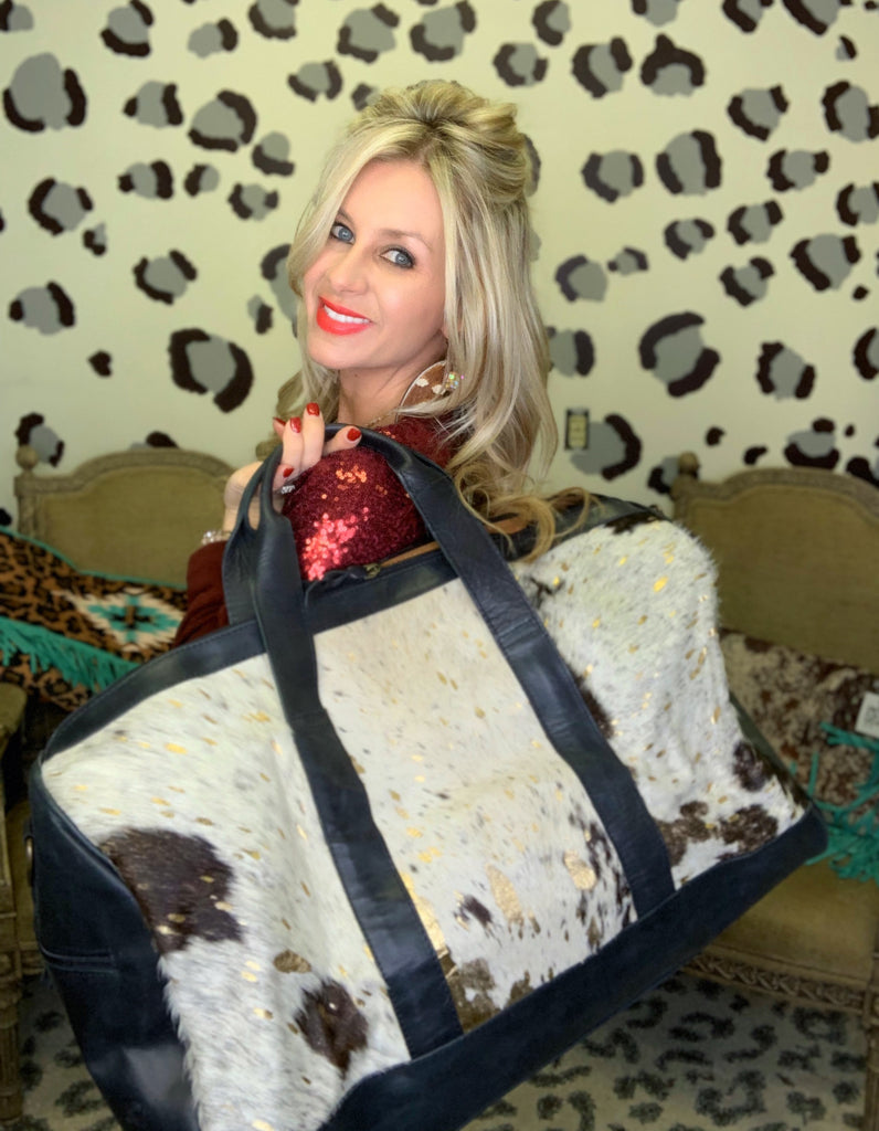 Headed West Black & Gold acid wash hair on hide & brown leather duffle
