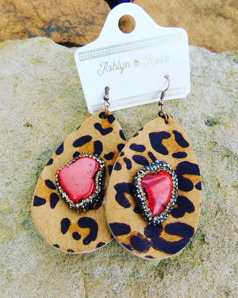 Leopard Drop Earrings with Red Stone and Double Halo