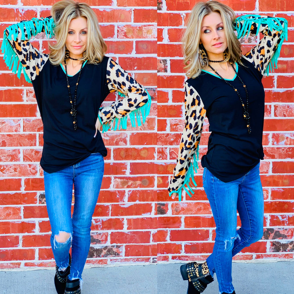 Loretta Black Leopard Teal Fringe Crazy train Blouse