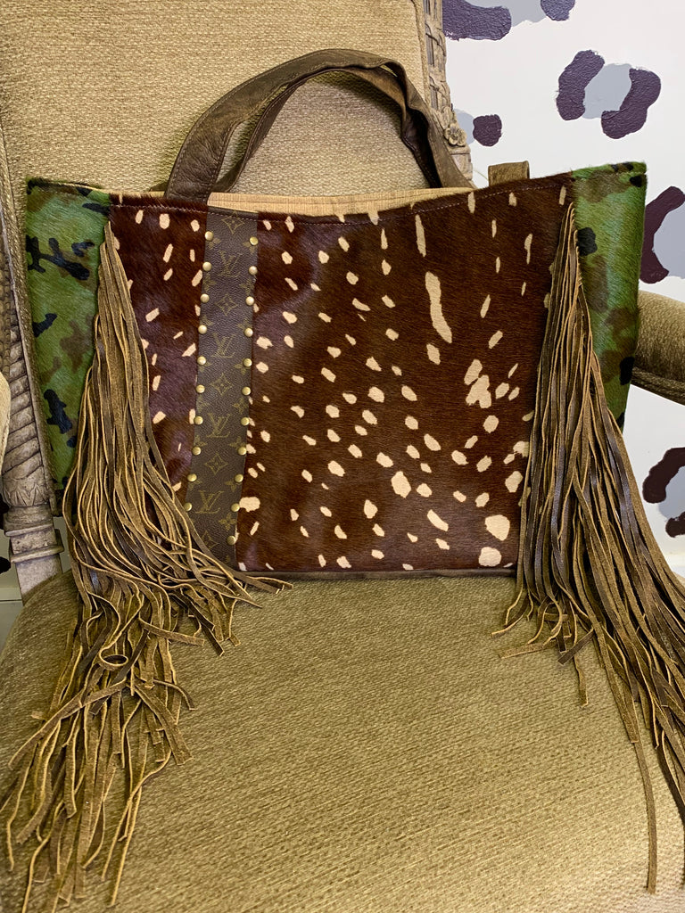Camo & Axis Hair on Hide Upcycled Stella tote by Keep It Gypsy