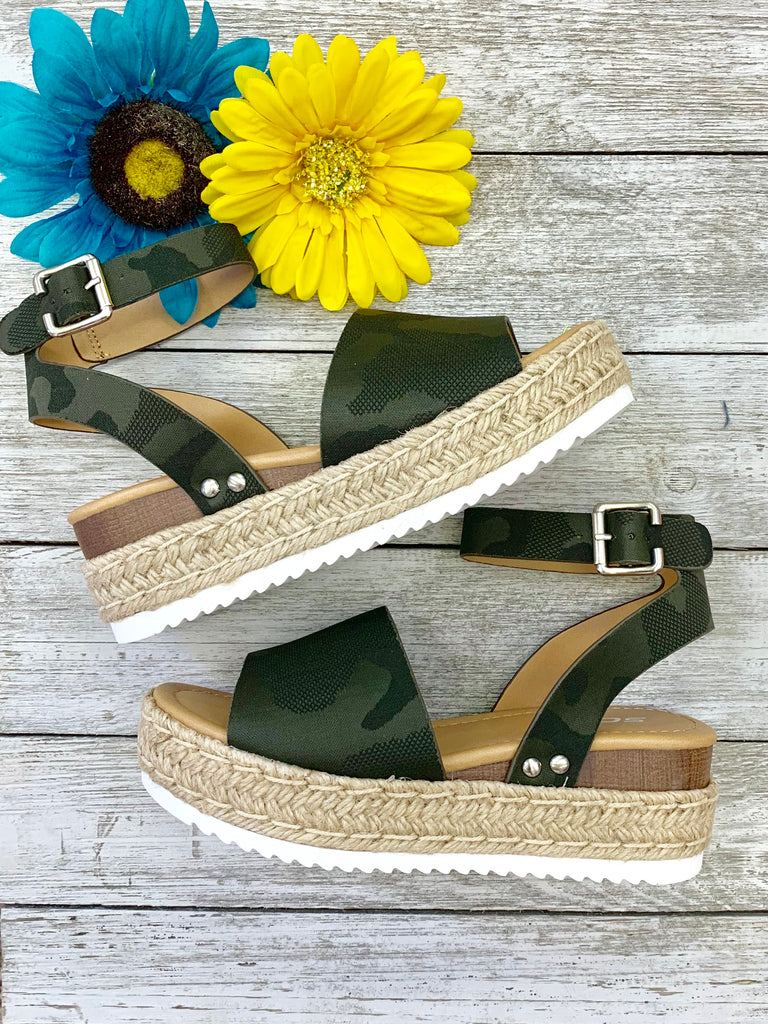 Camo vibes wedge sandals