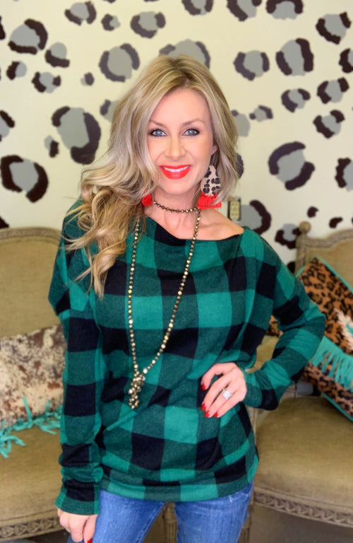 Green & Black Checkered sweater blouse
