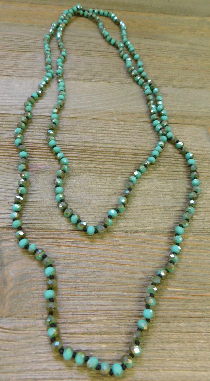 Sage Bronze Shimmer Beaded Necklace