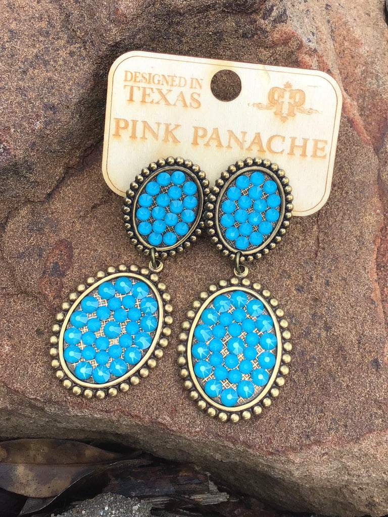 Blue Crystal Double Oval Earrings by Pink Panache