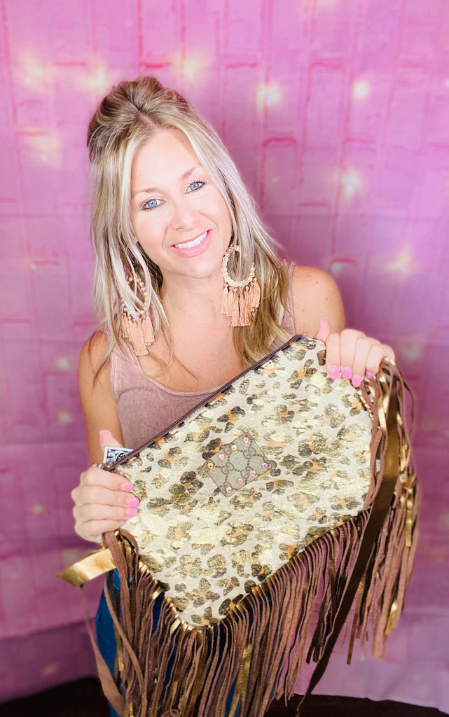 Gold leopard Hide GG upcycled Maxine