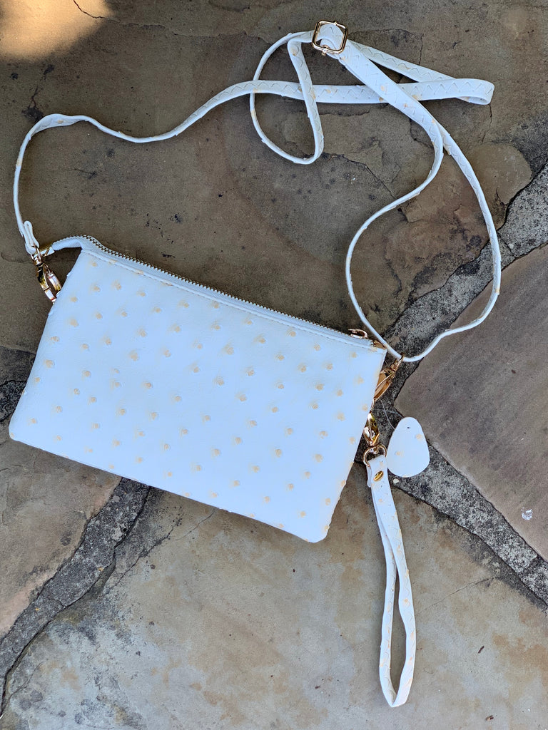 Ivory ostrich Liz crossbody by Caroline hill