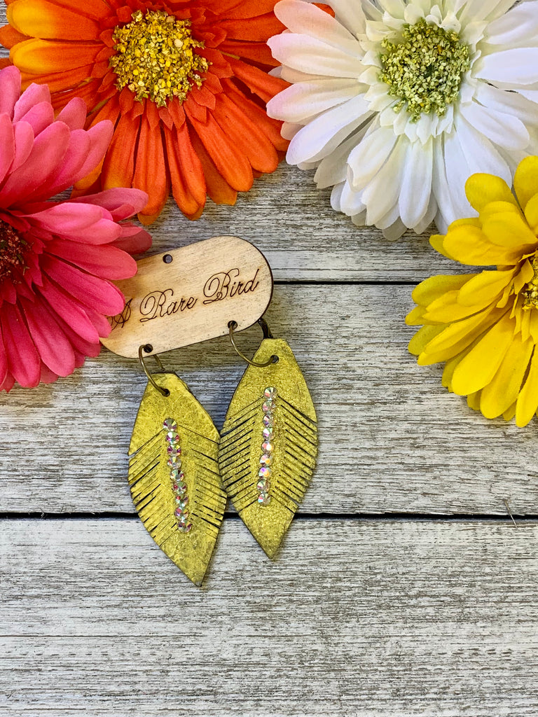 Yellow Feather AB Earrings