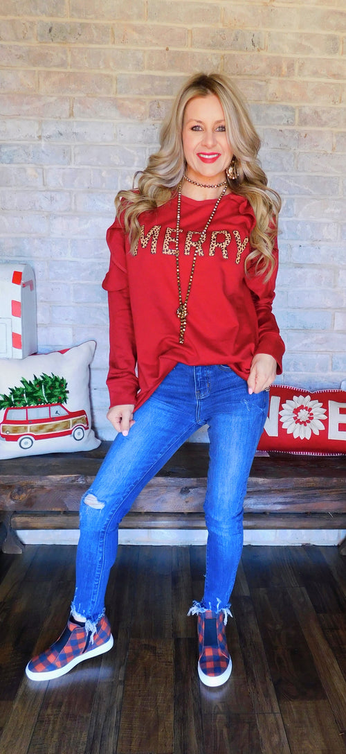 Leopard & Red Merry Christmas Ruffle Sleeve sweater