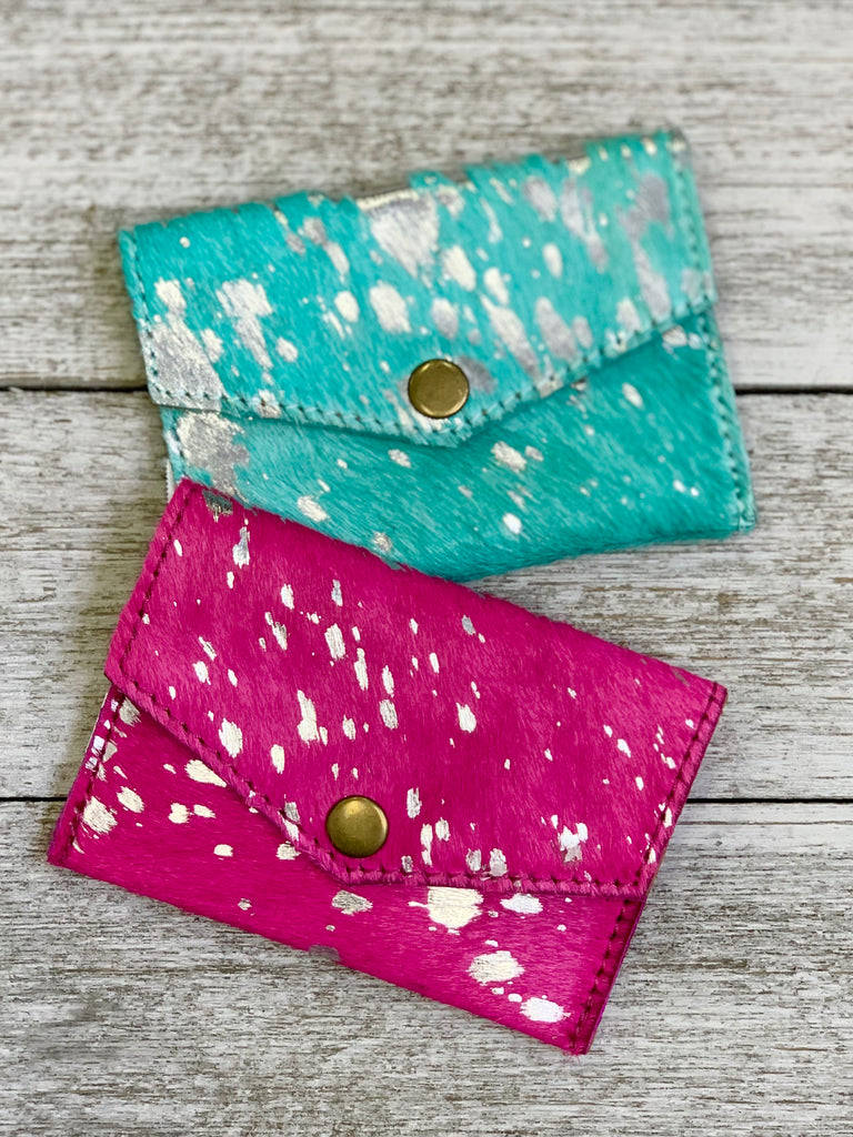 Turquoise Hair on Hide & Silver Acid Wash Credit Card Holder