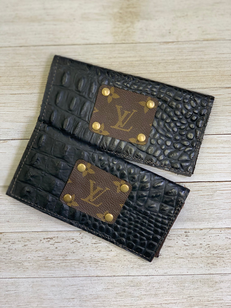 Up-cycled Black Croc Checkbook Wallet
