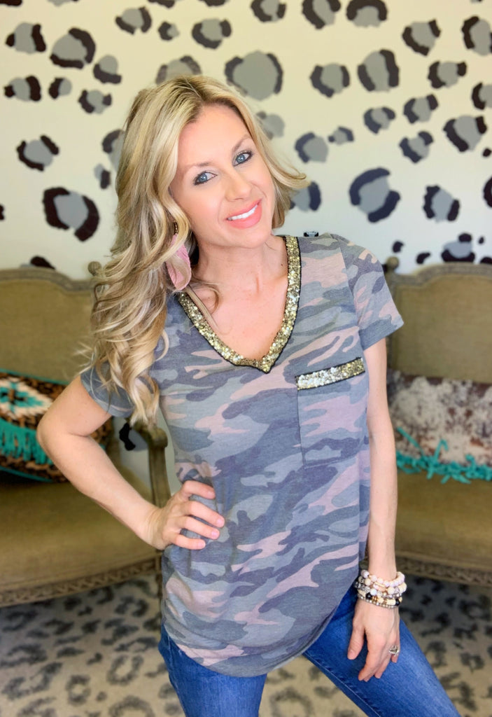 Olive Camo sequin v neck Tee